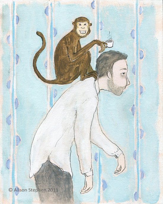 coffee monkey on man's back