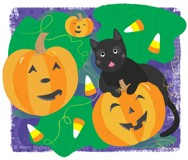 a drawing of pumpkins and a black cat