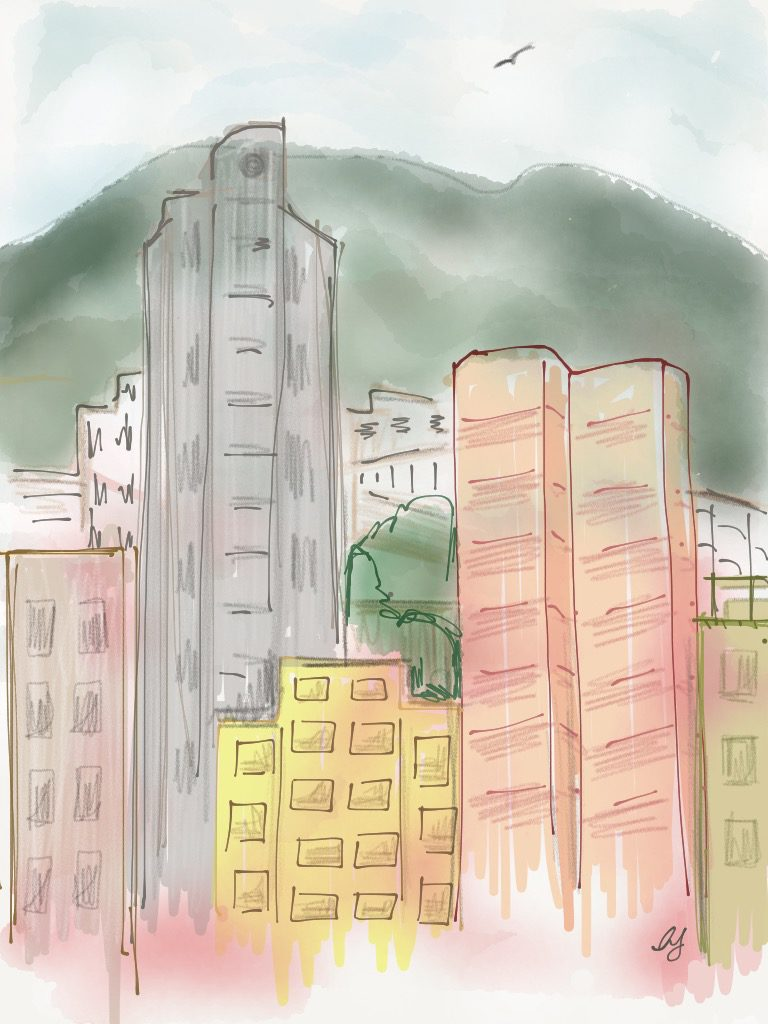 View of dawn in Happy Valley, from our living room window Illustration