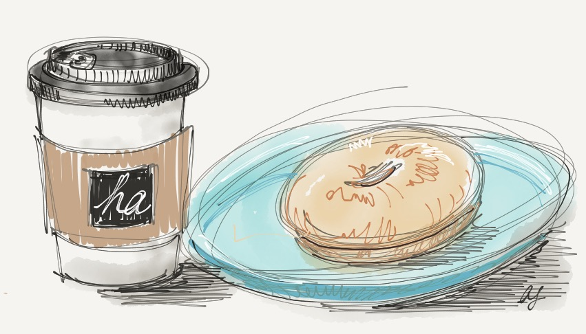 Latte and bagel Ilustration